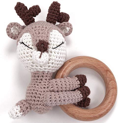 Beißring gehäkelte Reh mit Holzring mit integrierter Babyrassel, Greifling Spielzeug Holz und Baumwolle | Geschenk zur Geburt, Babyparty, Handmade Rassel für Baby & Kinder Junge/Mädchen (Reh Sleepy)