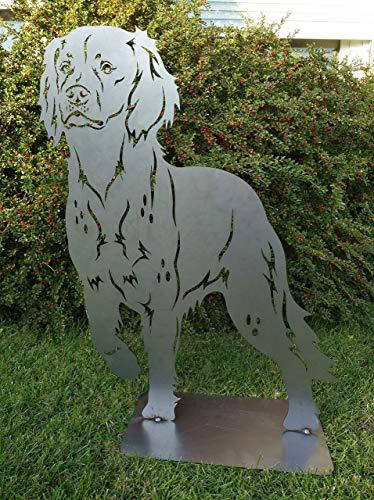 Gartendeko Fockbek Metallfigur Gartenfigur Hundefigur Höhe ca. 80 cm (Münsterländer Jagdhund) Rostfigur Gartenstecker Rostdeko