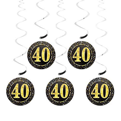 Oblique Unique® 5 Deckenhänger Wirbel Spiral Girlanden mit Zahl 40 Rund Deko für Geburtstag Jubiläum Party Feier UVM. Silber Schwarz Gold