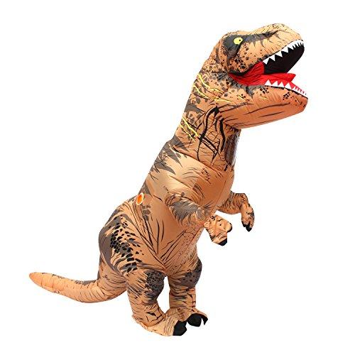 Halloween erwachsene aufblasbare T Rex Dinosaurier-Partei-Kostüm Lustige Kleid Braun und USB-Kabel
