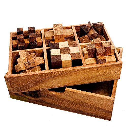 Casa Vivente Gadget Storm 6er Set Knobelspiel für Erwachsene, Geduldspiele aus Holz, 3D Holzpuzzle, Logikspiele, Knobel Würfel, Reisespiele für Kinder