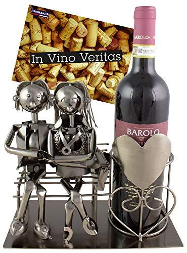 BRUBAKER Flaschenhalter Liebespaar auf Bank Metall Skulptur Geschenk mit Geschenkkarte