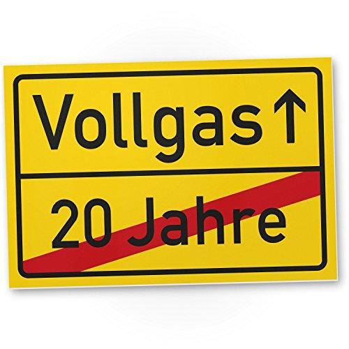 DankeDir! Vollgas (20 Jahre) Kunststoff Schild - Geschenk 21. Geburtstag Geschenkidee Geburtstagsgeschenk Einundzwanzigsten Geburtstagsdeko Partydeko Party Zubehör Geburtstagskarte