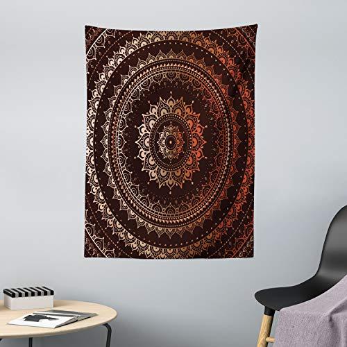 ABAKUHAUS Mandala Wandteppich, Kreis Universum und Kosmos Esoterisches Bild Druck, aus Weiches Mikrofaser Stoff Wand Dekoration Für Schlafzimmer, 110 x 150 cm, Kastanienbraun