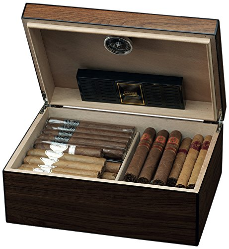 Egoist Premiuem - Zigarren Humidor Box aus Holz mit Hygrometer und Befeuchtungssystem für ca. 40 Zigarren I Zigarren-Zubehör - Braun