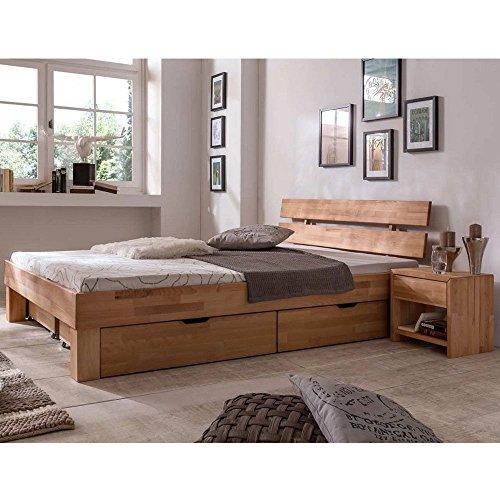 Eternity-Möbel Futonbett Schlafzimmerbett - SKARA - Kernbuche Buche geölt Bett inkl. 2 x Bettkasten Liegefläche 180 x 200 cm