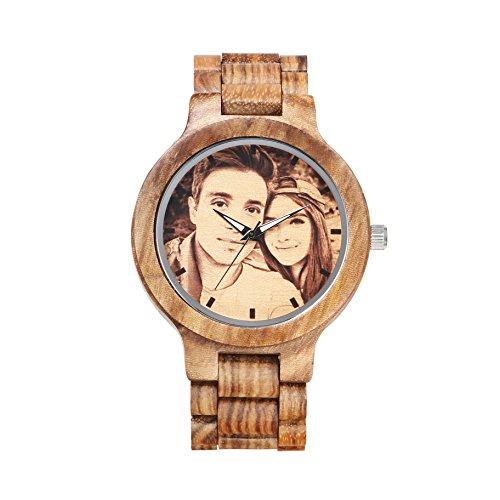KENON braun Zebra Holz Custom Sandelholz Sport Holz Armbanduhr Personalisierte Quarz Damen und Herren Armbanduhr