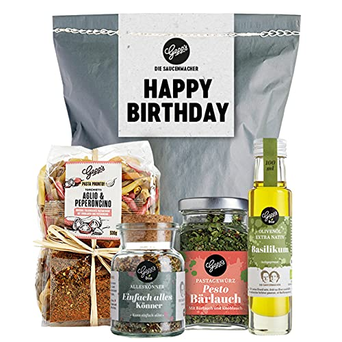 Happy Birthday Geschenkset - Gepp's Feinkost I Überraschungstüte gefüllt mit handgemachter Pasta, Pesto-Bärlauch Gewürz, Bio Alleskönner Gewürz & Walnussöl I Gourmet Geschenk-Set (A0045)