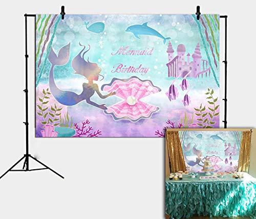Unter dem Meer Kleine Meerjungfrau Party Hintergrund für Mädchen Fotografie Schloss Wal Perle Prinzessin Lila Geburtstag Hintergrund Wand Dekor Kuchen Tisch Banner Photobooth Requisiten