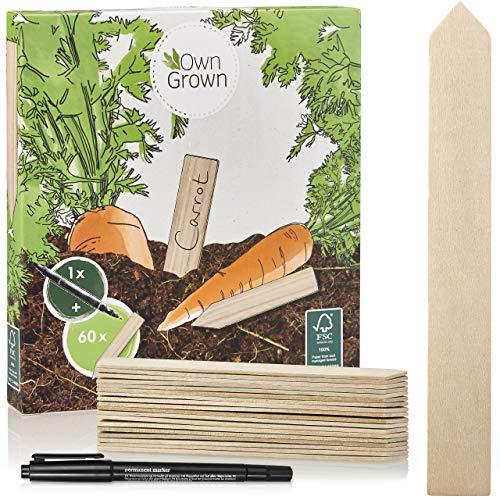 Holzschilder zum Beschriften: Premium Holz Pflanzenstecker im Set mit 60 Pflanzschilder und Stift – Schöne Pflanzenschilder zum Beschriften wetterfest – Holz Schilder zum Beschriften von OwnGrown