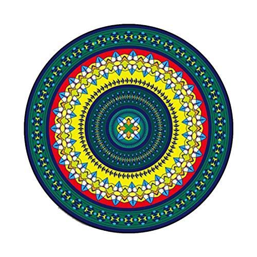 Siunwdiy Plüsch weiche rutschfeste Matten weich Datura Blumen runden Teppich Retro geeignet für Wohnzimmer Studie Schlafzimmer,B,Diamètre120cm