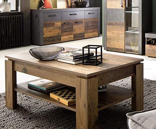 trendteam Wohnzimmer Couchtisch Tisch Wohnzimmertisch Indy, 110 x 47 x 65 cm in Old Wood NB mit viel Stauraum