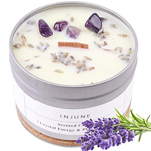 Duftkerze Bio Soja Kerze mit Lavendel und Natürlicher Kristall, Handgemachtes Kerze Geschenk Holzdocht Brennen 50 Stunden 200g (Lavendel)