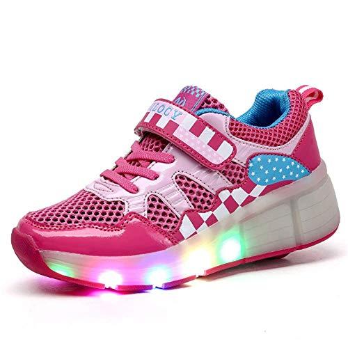 IDE Play LED-Streifen Roller Skate Schuhe mit Rad-Skateboard Schuh-Mode-Crosstrainer Flashing Gymnastik-Turnschuhe,Rosa,30