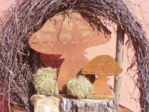 Rostikal   Herbst Deko Garten Pilz 2er Set   Rost Deko für Garten und Indoor   30 und 15 cm hoch