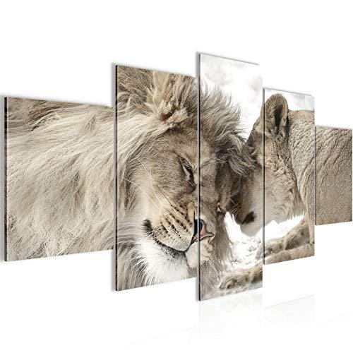 Runa Art - Bilder Löwen Liebe 200 x 100 cm 5 Teilig XXL Wanddekoration Design Beige 002151b
