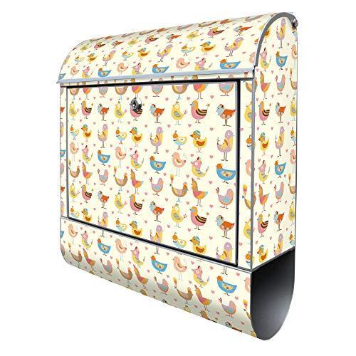 Banjado Design Briefkasten mit Motiv Lustige Vögel   Stahl pulverbeschichtet mit Zeitungsrolle   Größe 38x47x14cm, 2 Schlüssel, A4 Einwurf, inkl. Montagematerial