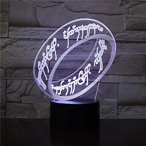 WoloShop LED-Leuchte, Einzelring, Herr der Ringe ESDLA wechselt Farbe USB Nachtlicht
