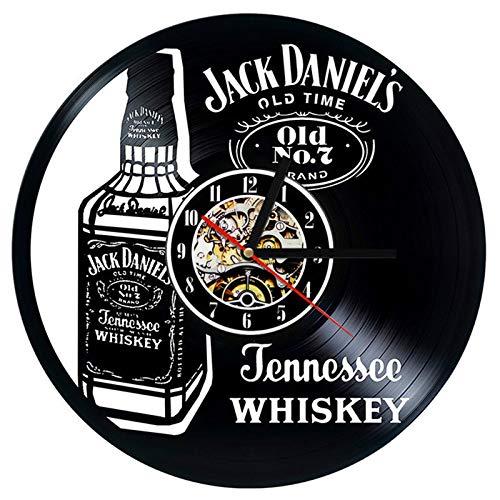 YUN Clock Wanduhr Aus Vinyl Schallplattenuhr Upcycling LED Jack Daniels Familien Dekoration 3D Design-Uhr Wohnzimmer Schlafzimmer Restaurant Wand-Deko Ø: 30 cm, Lieferzeit: 3-5 Tage