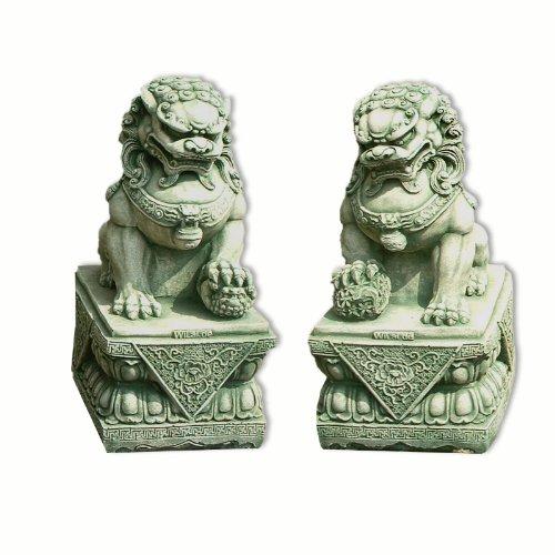 Wilai Steinfigur Fu-Hund Wächter Gartenfigur Gartendeko Löwe Tempel Männchen oder Weibchen GRÜN 44 cm hoch