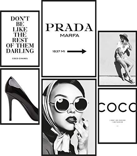 Papierschmiede® Mood-Poster Set Coco Schwarz-Weiß   Bilder als Wanddeko   Wohnzimmer & Schlafzimmer   2x DIN A4 und 4x DIN A5   Glamour Lifestyle Mode - ohne Rahmen