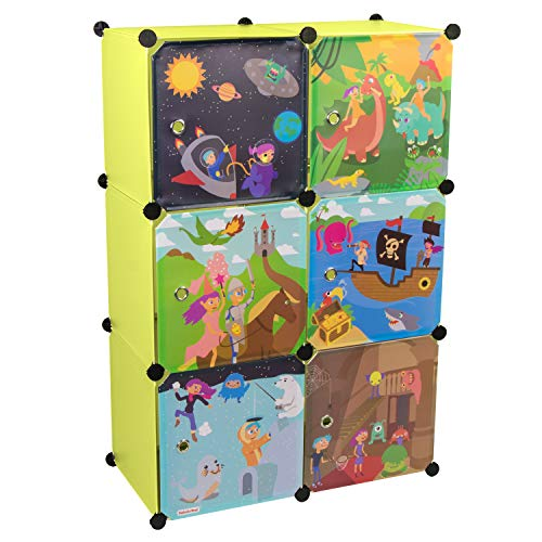 KEKSKRONE Großer Kinderschrank Bunte Motiv-Türen - DIY Stecksystem - 6 Module je 37 x 37 x 37 cm, Grün | Kinderzimmer-Schrank | Kinderkleiderschrank | Baby-Regal | Spielzeugkommode
