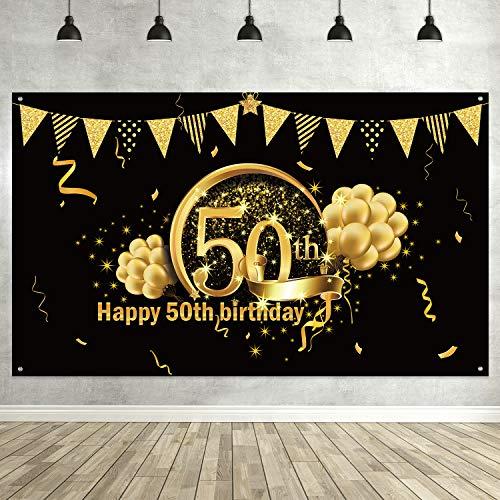 50. Geburtstag Party Dekoration, Extra Große Stoff Schild Poster zum 50. Jahrestag Foto Stand Hintergrund Banner, 50. Geburtstag Party Lieferunge (Schwarz Gold)