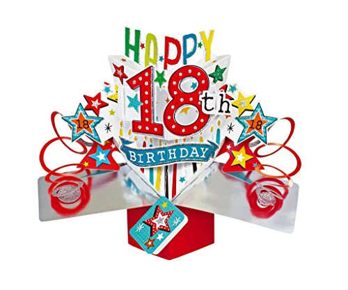 Second Nature Pop Ups Geburtstag Pop Up Card mit'Happy 18th Birthday' Schriftzüge und Sterne
