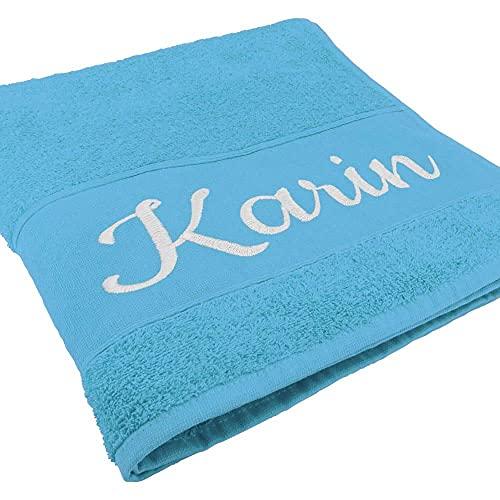 Handtuch mit Namen oder Wunschtext Bestickt, personalisiertes Duschtuch, individuelles Badetuch, 100% Baumwolle, 100 x 50 cm hellblau