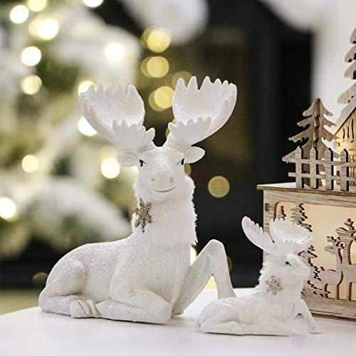 Valery Madelyn 2er Set 10/14 cm Harz Hirsch Weihnachtsfigur Rentier Dekofigur Weihnachtsdeko Figur Hirsch als Tisch Weihnachtsdekoration als Rentier Figuren Kinder Geschenk weiß MEHRWEGVERPACKUNG