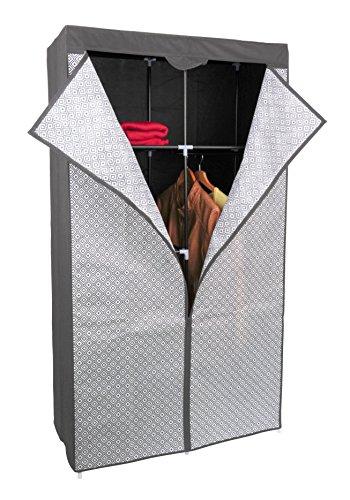 Kleiderschrank PRO ART 3397 STAHLGRAU mit Rauten 160 x 88 x 45 cm Regalsystem Stoffschrank Faltschrank Garderobenschrank Kinderzimmerschrank mit Kleiderstange für Kleidung, Spielzeug , Schuhe & Bücher