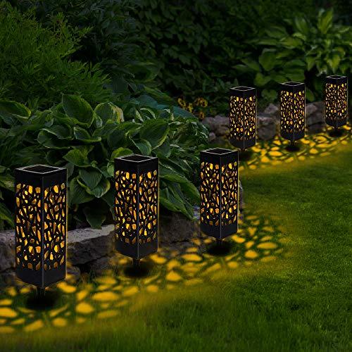 Sylanda 6 Stück Solarleuchte Garten, Solar Gartenleuchte Wasserdicht IP65 Solarlampen für Garten, Warmweiß LED Solarleuchte Dekoration Licht für Außen, Terrasse, Rasen, Garten Hofwege und Wege