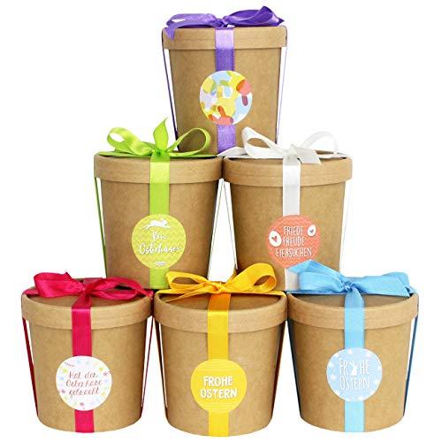 6 dekorative Osternester zum Befüllen - Naturbraune Becher mit Deckeln und buntem Satinband - Komplettset - Osterdeko 2020 mit Aufklebern - Osterkörbchen als Box