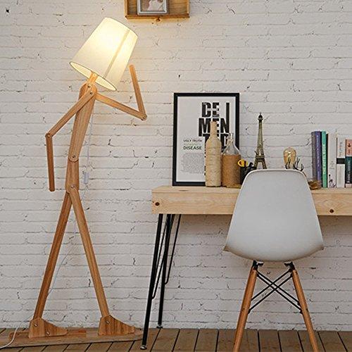 Moderne Ständer Lampe Licht Retro Nordic Design Lustige Einstellbare Kreative DIY Holz Stehleuchte für Wohnzimmer Schlafzimmer Home Dekorative mit Lampenschirm 160 cm (Hellbraun)