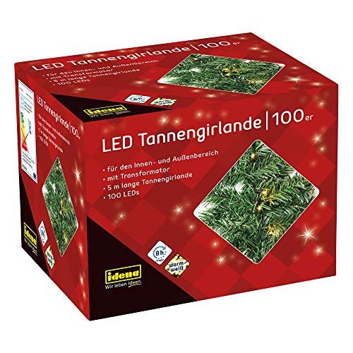 Idena 31814 - LED Tannengirlande mit 100 LED warmweiß, mit 8 Stunden Timer Funktion, für Advent, Weihnachten, Deko, als Stimmungslicht, ca. 25 cm x 5 m