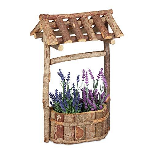 Relaxdays, natur Holzbrunnen Garten, dekorativer Zierbrunnen aus Holz, Gartenbrunnen mit Rinde, HxBxT: 43 x 25 x 18 cm