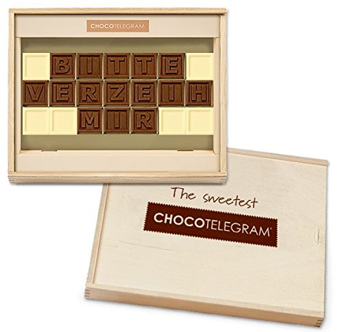 BITTE VERZEIH MIR - ChocoTelegram | Schokoladenbotschaft | Premium Qualität | Holzschachtel | Sorry mit Schokolade sagen | Frauen | Männer | Süße Entschuldigung Geschenk