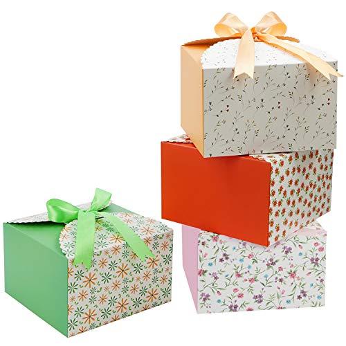 Belle Vous Geschenkbox Klein aus Papier mit Bogen und Schleife (20 Stück) 14,7 x 14,7x 9,4cm - Kleine Schachteln für DIY Hochzeit und Party Geschenke, Handgemachte Seife, Pralinen, Kekse oder Macarons