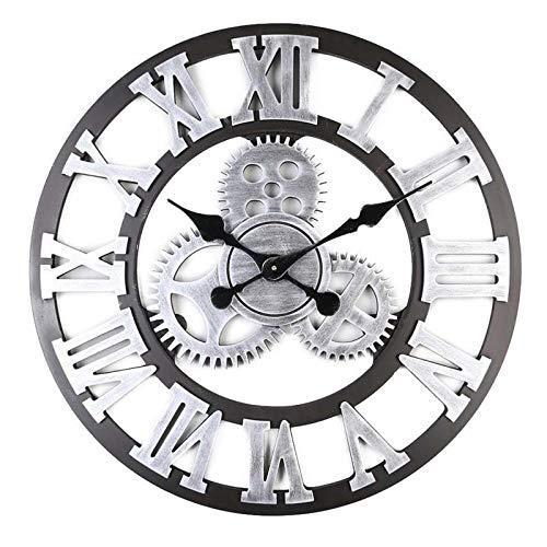 ENCOFT Wanduhr Vintage 3D Rahmenlose Wandaufkleber mit Ziffernblatt Modern Vintage Metall groß Uhren Wohnzimmer Schlafzimmer (Schwarz, 40cm)