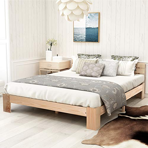 ZOEON Holzbett 140x200 cm - Doppelbett mit Kopfteil - Palettenbett mit Lattenrost - Massivholzbett - Bettgestell (Natur)