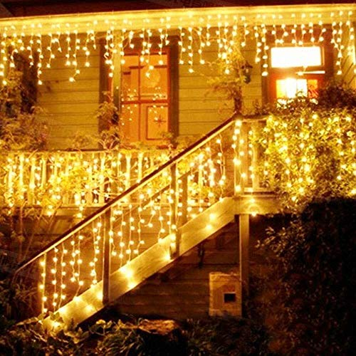 LED Lichtervorhang, LED Lichterkette, 216 LED 5M Eisregen/Eiszapfen Lichterkette, LED String Licht, Lichterkettenvorhang, Weihnachtsbeleuchtung, Weihnachtsdeko Christmas INNEN und AUSSEN, Warmweiß