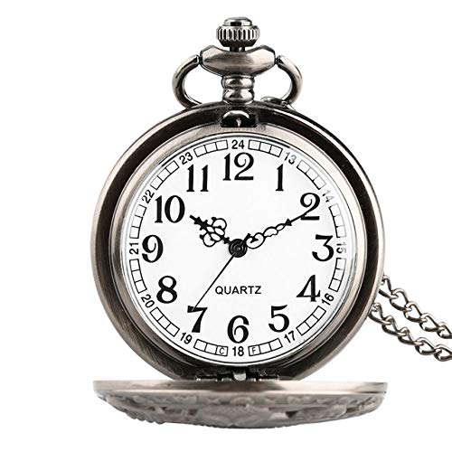 YJRIC Taschenuhr Retro Bronze Antik Octopus Hollow Cover Quarz Taschenuhr Halskette Anhänger Handmade Clock Souvenir Geschenke für Männer Frauen, Schwarzes Gehäuse