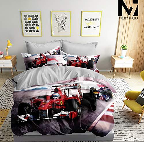 3D Bettwäsche Formel 1 Bettbezug Set 135x200 + 80x80 cm F1 Doppelseitige Rot Weiß Grau mit Verschluss
