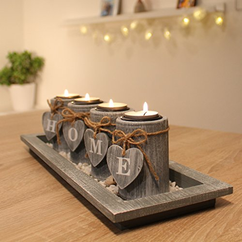Teelichthalter-Set Holz Tablett Landhaus Tischdekoration Windlicht Weihnachtsdekoration innen