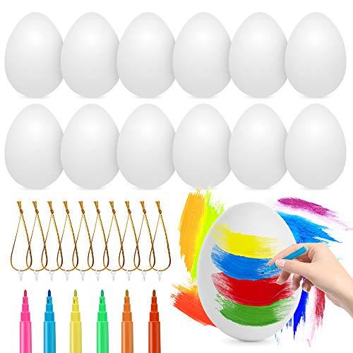 24X Ostereier Plastik Weiß,Ostereier Deko Eier,Ostereier aus Plastik, Kunstoffeier Plastikeier aus Plastik, Aufhängen Eier mit Seil,Ostern Basteln Bemalen für Dekoration und Geschenk,mit 6 Farbpinsel