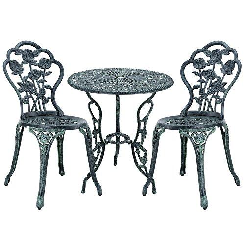 casa.pro] Gartentisch Bistro-Tisch 60cm Rund Grün mit 2 Stühlen im Antik-Look für Balko Terrasse Bistro-Set Gusseisen-Metall als Gartendeko