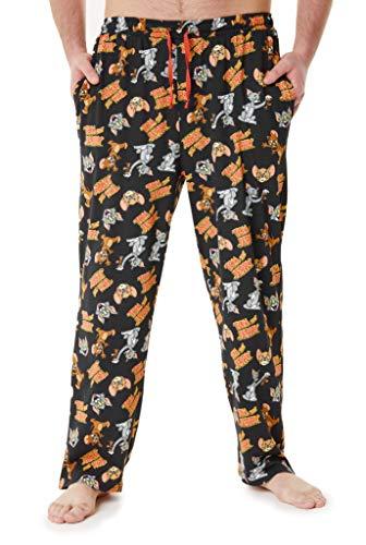 Tom and Jerry Haushose Herren Lang, 100% Baumwolle Herren Loungewear, Freizeithose Lang Männer und Teens, Lustige Hose Herren, Geschenke Für Männer (Schwarz, M)