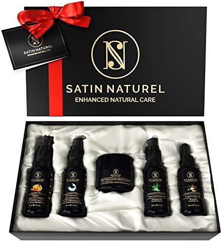 Luxuriöses Anti-Aging BIO Geschenkset 5x30ml - Hyaluron Serum + Hyaluron Creme + Aloe Vera Gel + Vitamin ACE Serum + Arganöl - Ideales Geschenk für Frauen zu Weihnachten -Naturkosmetik Made in Germany