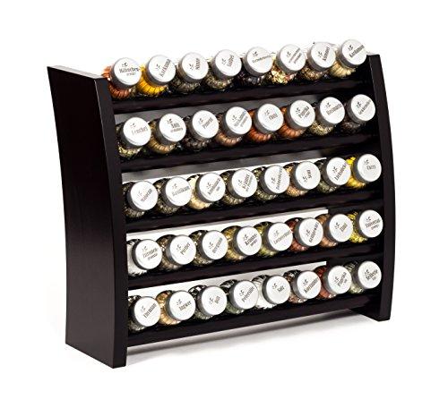 Gewürzregal, Küchenregal aus Holz für Gewürze und Kräuter, 40 Gläser, Gald - 40F 8x5 venge matt