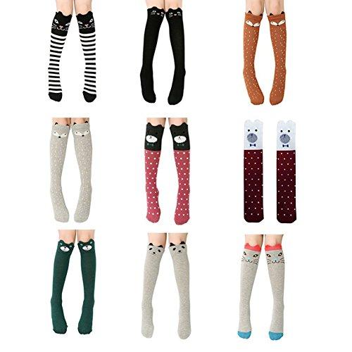 Blaward Baby Kinder Kniestrümpfe Niedlichen Tier Drucke Baumwolle Lange Socken für Mädchen 3-12Years